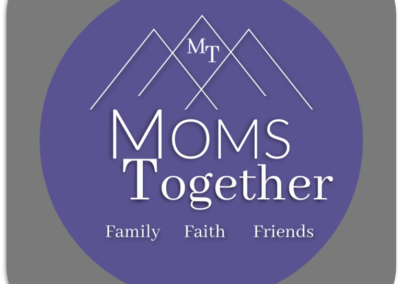 Moms Together graphic with gray square Moms Mountains